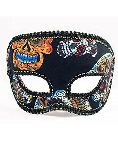 Forum Novelties Men's Mask-Day of Dead-Half-Male, Black,