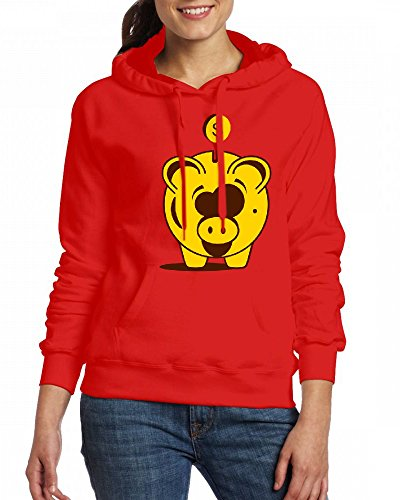 A funny piggy bank with a dollar Womens Hoodie Fleece Custom Sweartshirts