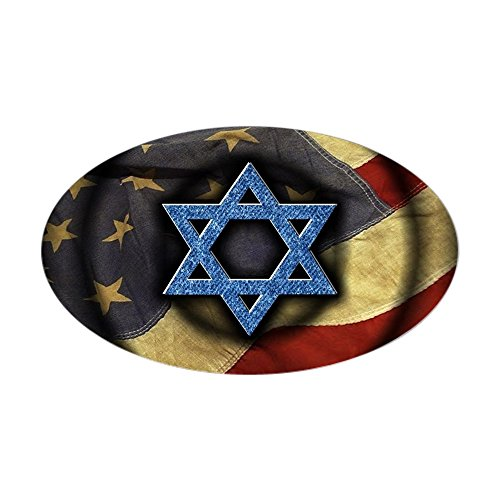 CafePress - Jewish American - Oval Bumper Sticker, Euro Oval Car Decal -