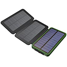 Solar Power Bank, X-DRAGON Solar Charger with Foldable Solar Panel Power Bank 10000mAh Portable Rugged Shockproof Dual USB Solar Battery Charger for iPhone, Samsung Galaxy ipad and More-Green