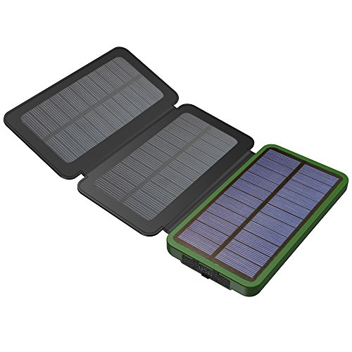 Foldable Solar Charging Panel (Solar Power Bank, X-DRAGON Solar Charger with Foldable Solar Panel Power Bank 10000mAh Portable Rugged Shockproof Dual USB Solar Battery Charger for iPhone, Samsung Galaxy ipad and)