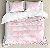 Marble Duvet Cover Set Queen Size by Ambesonne, Soft Granite Texture Old Fashion Space Stone Abstract Macro Scratches Girls Image, Decorative 3 Piece Bedding Set with 2 Pillow Shams, Light Pink