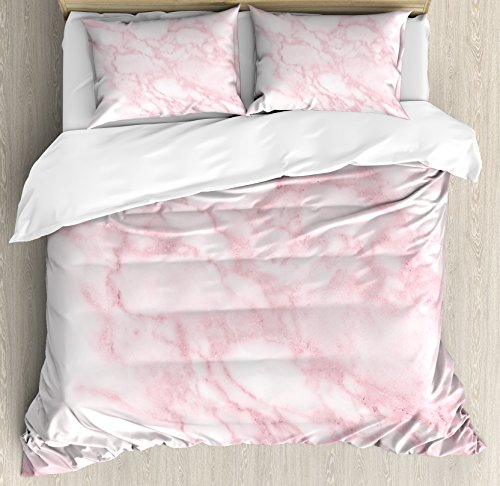 Ambesonne Marble Duvet Cover Set, Soft Granite Texture Old Fashion Space Stone Abstract Macro Scratches Girls Image, Decorative 3 Piece Bedding Set with 2 Pillow Shams, King Size, Pink