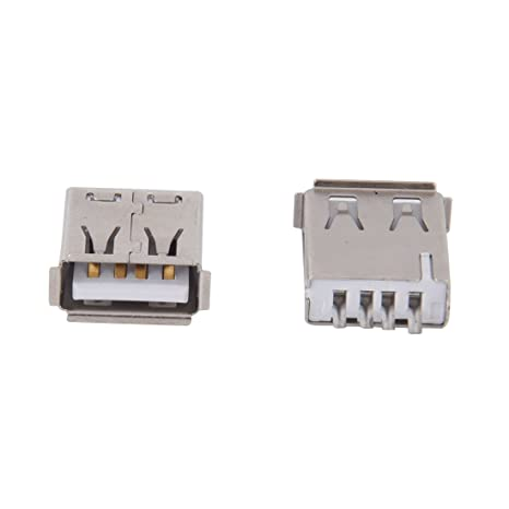 SODIAL(R) 10 x Conector USB A Hembra Recto Tipo de Soldadura