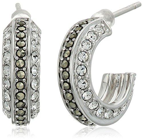 [Judith Jack Sterling Silver/Swarovski Marcasite Crystal Hoop Earrings] (Judith Jack Marcasite)