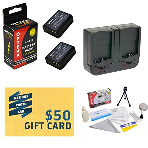 2 Extended Life Replacement Battery Packs For the Canon LP-E10 LPE10 2000MAH Each 4000MAH in Total For the Canon EOS Rebel T3 1100D Kiss X50 Cameras 2 Batteries In Total + 1 hour AC/DC Dual Battery Rapid Charger For The Canon EOS Rebel Camera + Deluxe Lens Cleaning Kit + LCD Screen Potectors + Mini Tripod + 47stphoto Microfiber Cloth Photo Print !