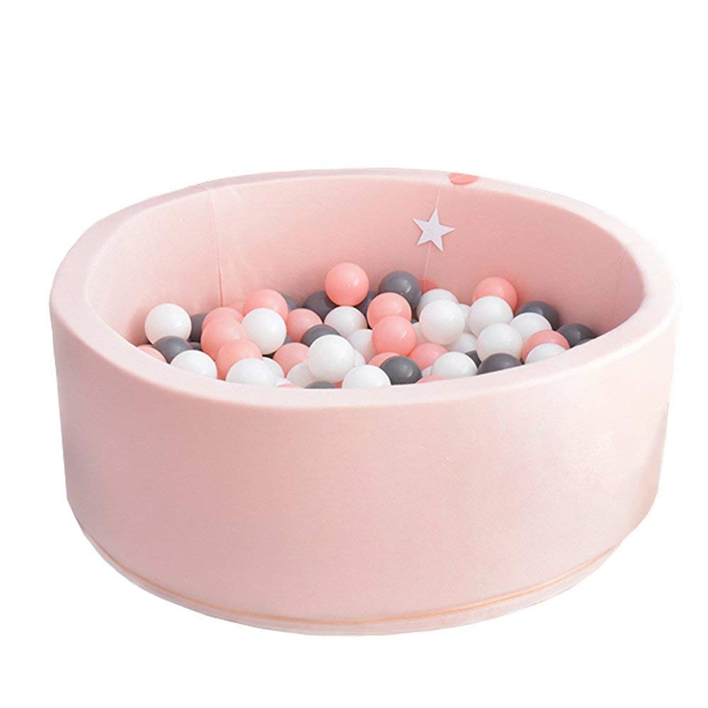 Thenese Deluxe Handmade Kids Foam Round Ball Pit + 200 Balls Quality Durable Premium Drypool Non-Toxic Safe Materials, SOFE & Thick, Ideal Little Tots Babies Above 1-Year (Pink&200)