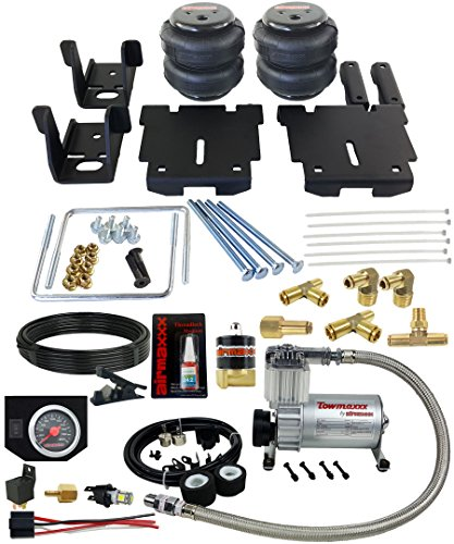 (airmaxxx 2007-18 Chevy 1500 Air Over Load Tow Kit Compressor & Black Gauge )