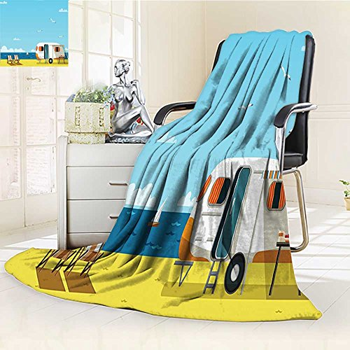YOYI-HOME Digital Printing Duplex Printed Blanket of Summertime Caravan Coastline Clouds Seagulls Scenery Print Aqua Navy Yellow Summer Quilt Comforter /W47 x H59 ()