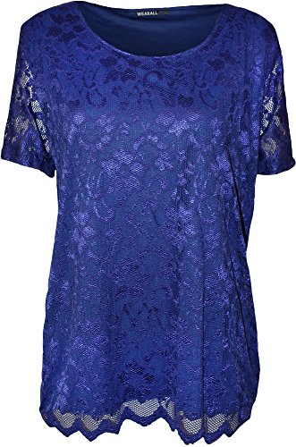 (WearAll Plus Size Women's Lace Short Sleeve Top - Royal Blue - US 22-24 (UK 26-28))