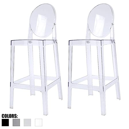 2xhome – Set of Two 2 – Clear – 30 Seat Height Barstool Modern Ghost Side Bar Stool Counter Stool – Accent Stool – Lounge No Arms Armless Arm Less Chairs Seats Mid Century Design