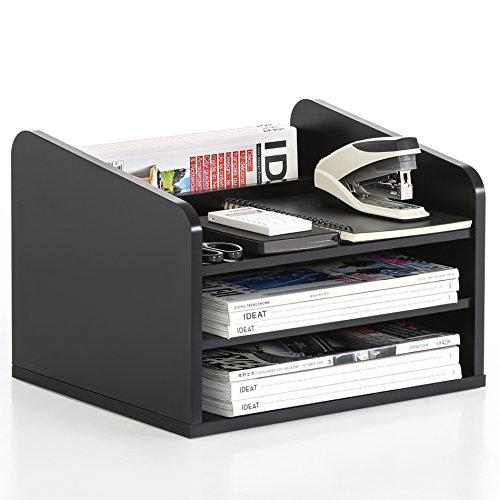 FITUEYES 3-Tier Wood Desk Organizer Workspace Organizers Black ()