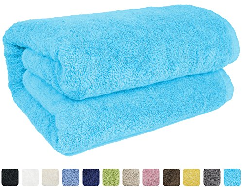 SALBAKOS Luxury Spa 100% Combed Turkish Cotton Large Oversized Eco-Friendly Bath Sheet 40 x 80 Inch, Aqua