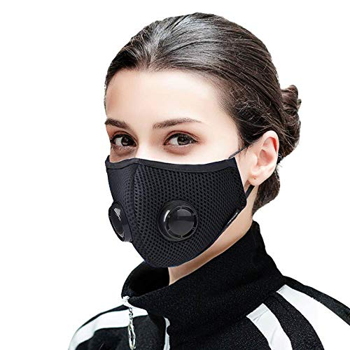 Dust Mask - Activated Carbon Face Mask with Extra Filter Cotton Sheet and 2 Valves for Exhaust Gas, Pollen Allergy, PM2.5, Running, Cycling, Outdoor Activities(N99 Mask, Black)