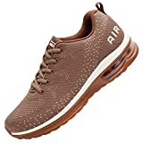 JARLIF Men's Lightweight Athletic Running Shoes Breathable Sport Air Fitness Gym Jogging Sneakers (10 D(M) US, Brown)