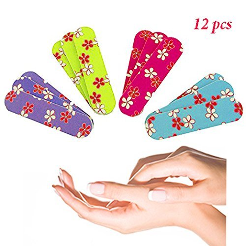 Ifavor123 Mini Girlie Girl Floral Colorful Nail File Emery Boards (12) (Mini Nail File Pack)