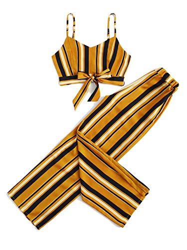 (Milumia Women Striped Knot Hem Crop Cami Top with Pants 2 Piece Set Outfit Yellow XL)