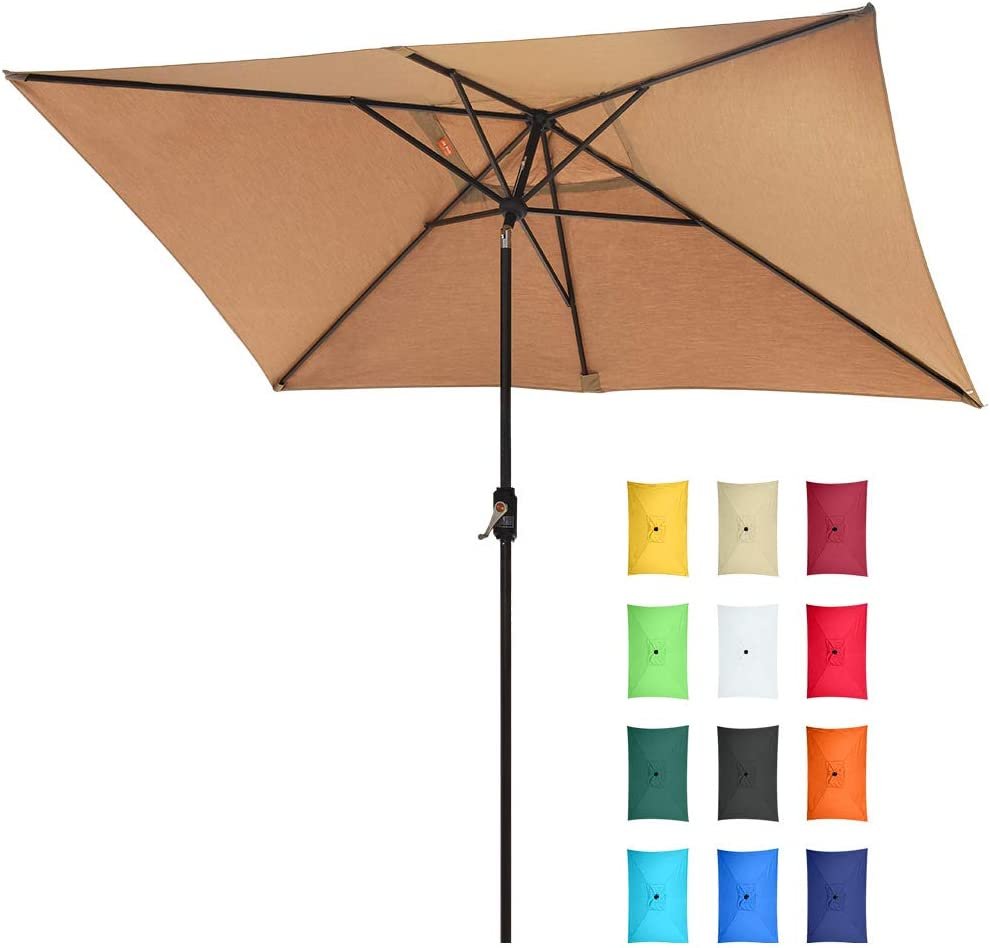 EliteShade Acrylic 10×6.5 Ft Rectangular Market Umbrella Patio Outdoor Table Umbrella with Ventilation and 5 Years Non-Fading Guarantee,Heather Beige