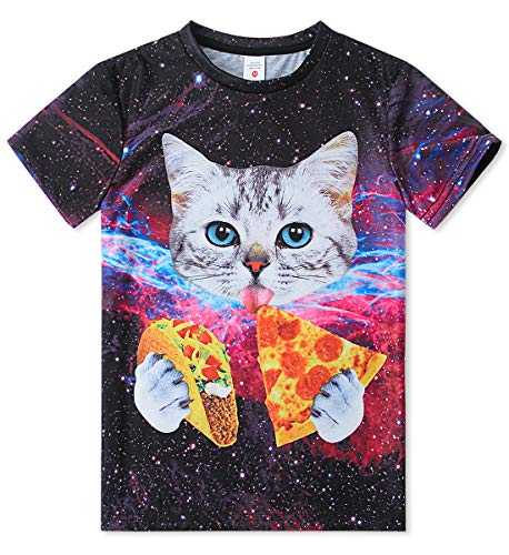 (Enlifety Lovely Pizza Cats Purple Sky Tshirts Pullover Tees Boys Girls Youth Round Neck Summer Tees, L/14-16 Years)