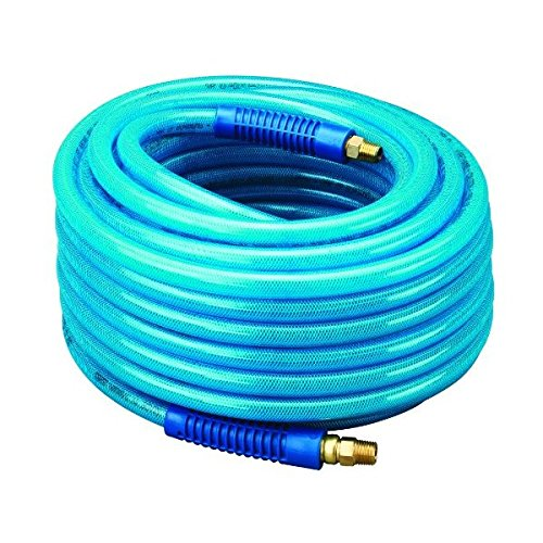 Amflo 13-100AE Blue 300 PSI Polyurethane Air Hose 3/8'' x 100' With 1/4'' MNPT Swivel Ends And Bend Restrictor Fittings