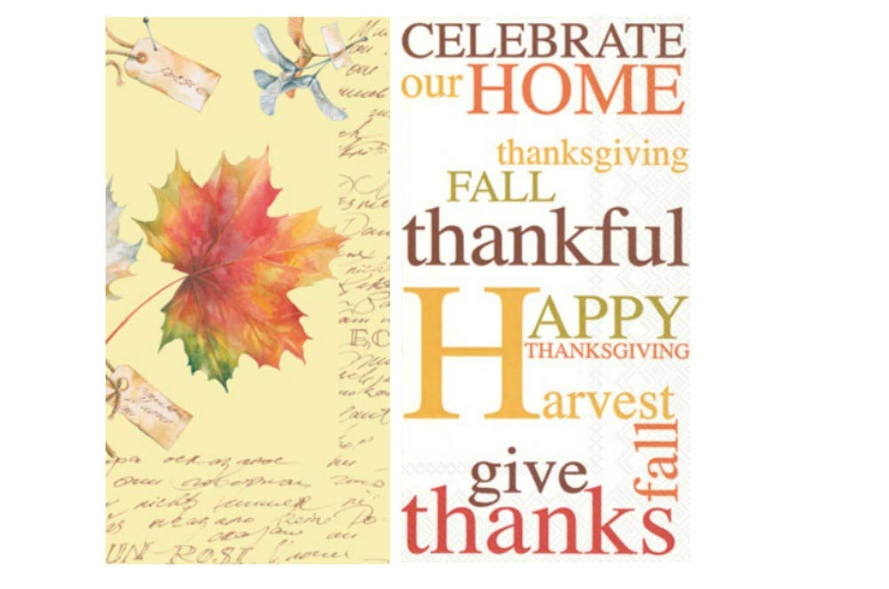 TLP Online Guest Towel Bundle in an Autumn Thanksgiving Theme: Includes (1) 16 Count Maple Leaf and (1) 16 Count Celebrate Our Home