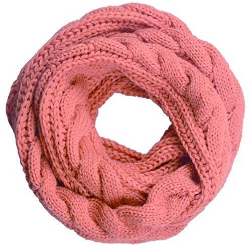 (NEOSAN Womens Thick Ribbed Knit Winter Infinity Circle Loop Scarf Twist Pink)