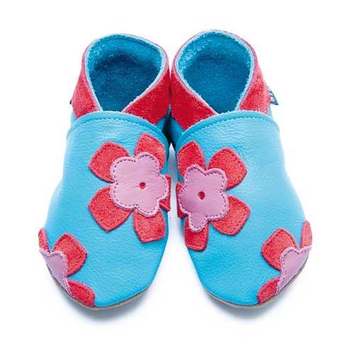 Inch Blue Chaussures Bébé Souples - Freya - Turquoise / Corail - T 20-22 cm
