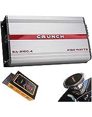 Crunch SA-2100.4 Smash Series 2,100-Watt 4-Channel Class AB Amp Car Audio Sound System Subwoofer Speaker Amp Amplifier with Gravity Magnet Phone Holder Bundle