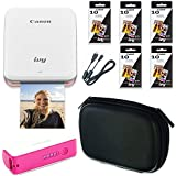 Canon Ivy Wireless Bluetooth Mini Photo Printer (Rose Gold) with 5 Canon Photo Paper Packs + 2600mAh Power Bank + Gadget Case