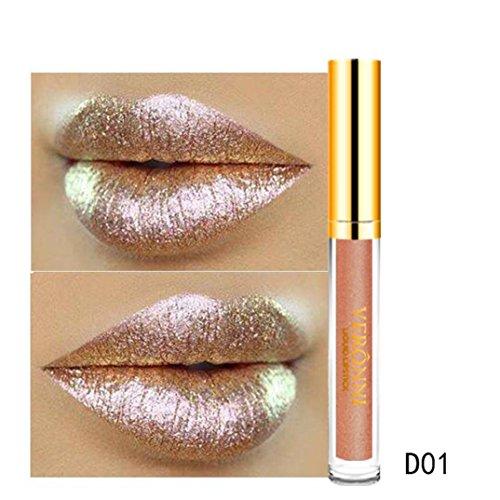 Ourhomer Waterproof Lasting10 Color Womens Magic Glitter Flip Lipstick Flip Pull Matte Pearl Lip Gloss CLU (A)