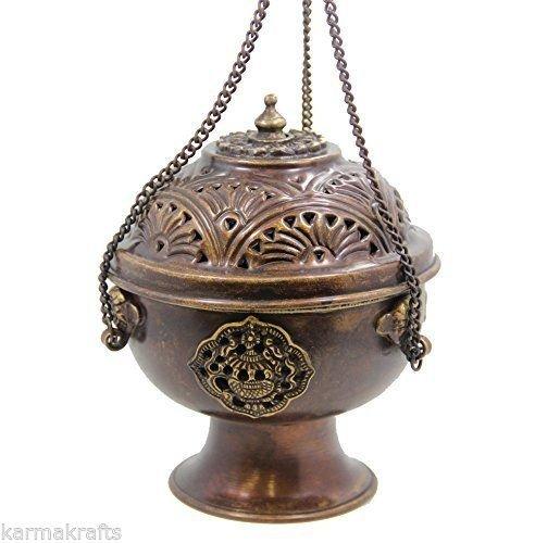 【ポイント10倍】 チベットHanging DharmaObjects Incense Burner DharmaObjects ~銅W/チベットシンボル~ Incense 5.25 ~銅W
