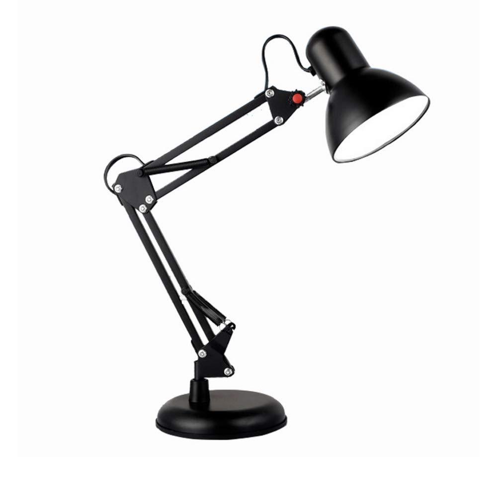 DEPAOSHJ schwarz Metal Klapptischlampe mit langem Arm Teleskop E27led Augenstudie Studie Lesetischlampe Clip Lampe Tischlampe Doppelt verwendbares Schlafzimmer-Bettlesetischlampe