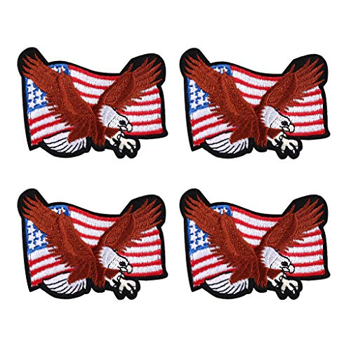 4 Pcs America Eagle Iron On Sew On Embroidered Patch, Applique Patch, Cool Patches for Men, Women, Boys, Girls, Kids - Mens Eagle Applique