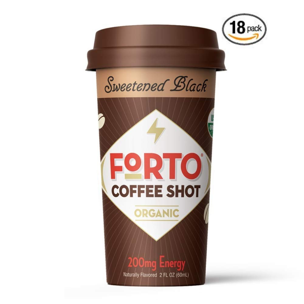 FORTO Coffee Shots - 200mg Caffeine, Sweetened Black, Ready-to-Drink on the go, High Energy Cold Brew Coffee - Fast Coffee Energy Boost, 18 Pack
