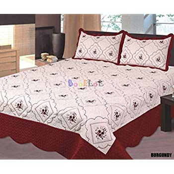 Amazon.com: All for You 3pc Reversible Quilt Set, Bedspread, and ... : burgundy quilts - Adamdwight.com