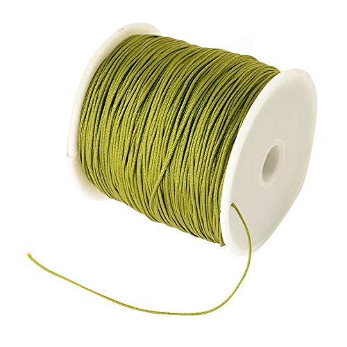 FidgetKute 0.8mm Olive Braided Nylon Cord Imitation Silk String Thread About ()