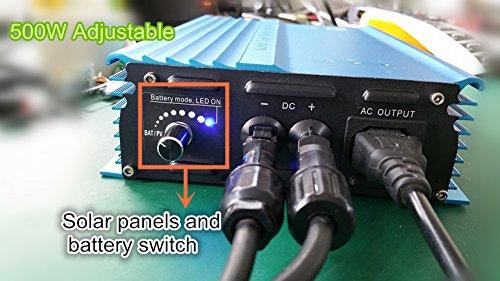 500W Pure sine wave Grid tie inverter forr solar panels Voc-Input:26V-45V vmp 24v-35v or for 24V batterty output power adjustable home solar system (500W-ADJ-DC:26V-45V) by SOYOSOURCE