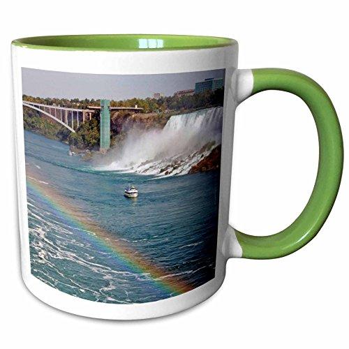 3dRose Danita Delimont - Niagara Falls - Ontario, Niagara Falls. Maid of the Mist boat, rainbow-CN08 LSE0000 - Lynn Seldon - 11oz Two-Tone Green Mug - Falls Outlet Niagara Ontario