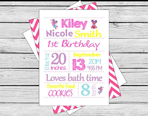 1 - 1st Birthday Facts Subway Art - Abby Cadabby & Elmo Inspired Happy Birthday Collection - Baby Blue Polka Dots, Hot Pink Chevron & Lavender, Red and White Accents - Party Packs Available (Abby Cadabby Party City)