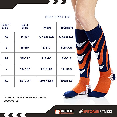 Active Fit Compression Socks (Men & Women) - Premium Graduated Athletic Fit For Running, Cycling, Nurses, Flight Travel, Maternity And For Stamina & Recovery (Orange & Navy - Men's L / Women's XL)