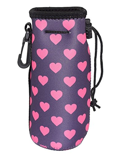16 Ounce Sack (water bottle sleeve with clip, Carrier Cover Neoprene Water Bottle Drawstring Insulator Cooler Sleeve bag (Rose Red))
