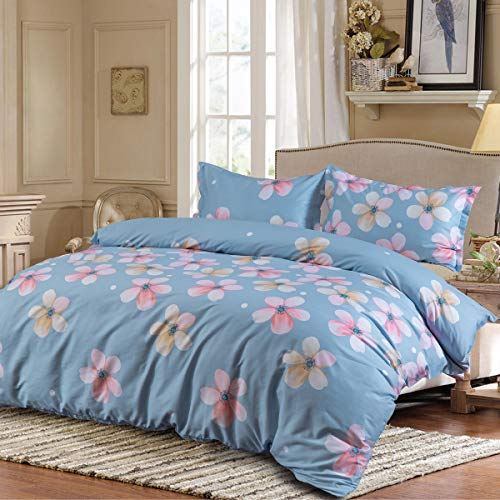 Duvet Cover and Pillow Shams 3 Piece Comforter Set, Hypoallergenic Breathable Soft 100% Cotton Bedding Sets with Hidden Zipper and Tieback Queen Size