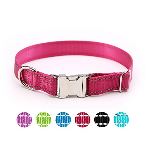 ComSaf Vivid Reflective Dog Collar with Metal Buckle for Medium Dogs Hot Pink ()