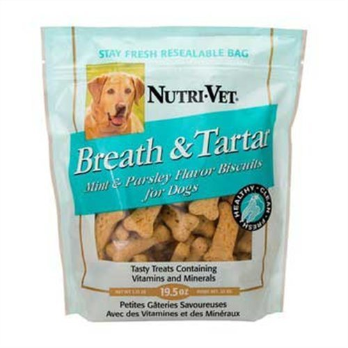 Nutri-Vet Breath And Tartar Chicken Flavored Biscuits, 19.5 Ounce Bag (Dental Biscuits)