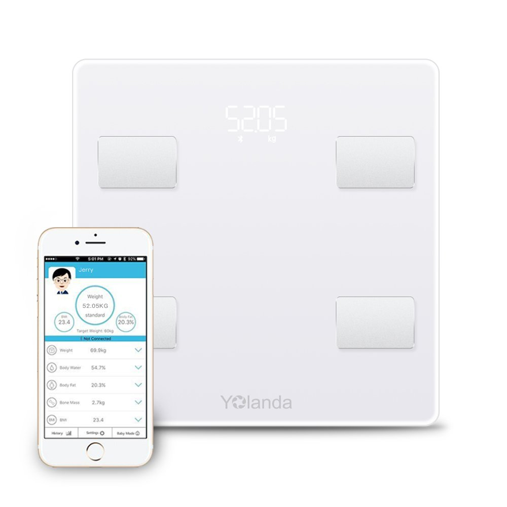 Yolanda Bluetooth Body Fat Scale Smart Wireless Digital Bathroom Weight Scale Body Composition Analyzer with iOS and Android APP for Body Weight, Protein, Bmi, Body Water, Bone Mass and Visceral Fat