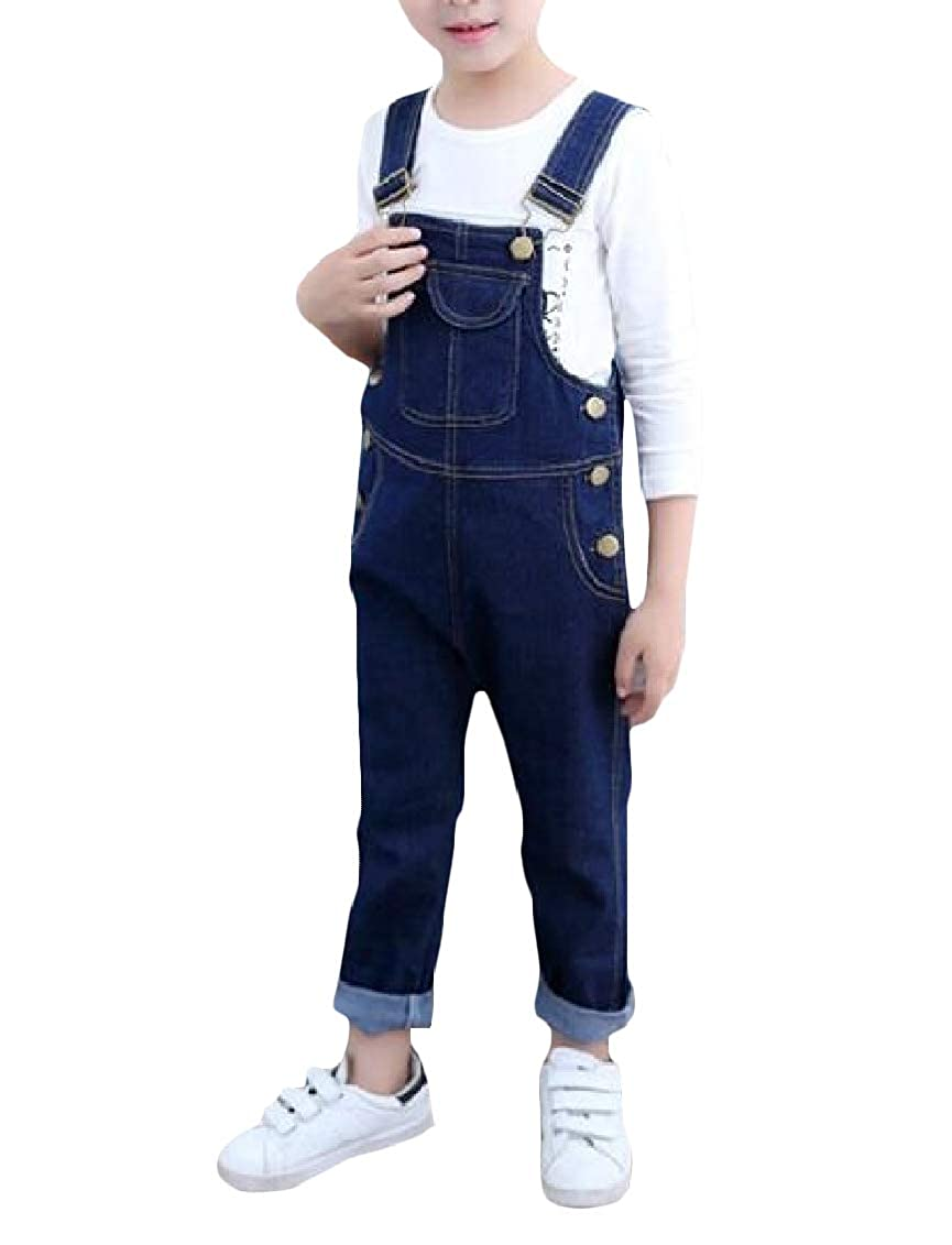 Sweatwater Boys Girls Fit Denim Solid Trousers Overalls Pants