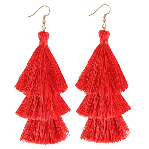 ELEARD Tassel Earrings Tiered Thread Tassel Dangle Earrings Statement Layered Tassel Drop Earrings (3 layers red) Body Jewelry Black Chandelier Earrings