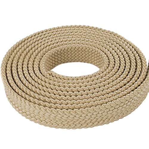 (West Coast Paracord 1 Inch MFP Soft Flat Braid - PolyPro Hollow Flat Braid Rope - Black, Red, Brown, White, Olive Drab, Tan- Easy to Splice and Seal - Hanks (Tan, 10 Feet))