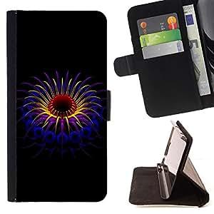 BullDog Case - FOR/HTC One M8 / - / Beautiful abstract plant /- Monedero de cuero de la PU Llevar cubierta de la caja con el ID Credit Card Slots Flip funda de cuer