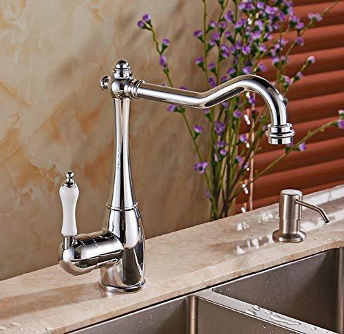 Oudan Fashion Solid Brass Bathroom Faucet Single Handle Kitchen Sink Faucet Mixer Tap LH-6030L (color   -, Size   -)